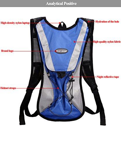 West Biking stärker Hydration Backpack + 2,5l Wasser Rucksack, muli-functions Kleine Werkzeuge Tasche, leichte Tasche für Reiten Camping Bergsteigen Bergsteigen, 6Farben Blue Backpack