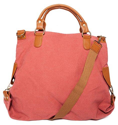 Handtasche mit Stern Tasche aus Canvas Schultertasche Umhängetasche Henkeltasche Shopper, Damen 00051018 Rot/Berry