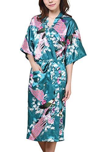 Waymoda Women's Luxury Silky Satin Nightwear Dressing Gown, Peacock and Blossoms Pattern Kimono Pajamas, 10+ Color, 5 Sizes Optional - Long (Salon Grüner Kostüm Mädchen)
