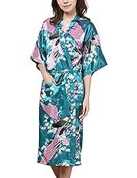 Waymoda - Bata de satén para mujer, diseño pavo real y flores, estilo Kimono