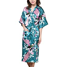 waymoda Donna Luxury raso di seta pigiama Accappatoio, Pavone e fiori pattern stile Kimono pigiama lungo, 10+ Colori, 5taglie, opzionale