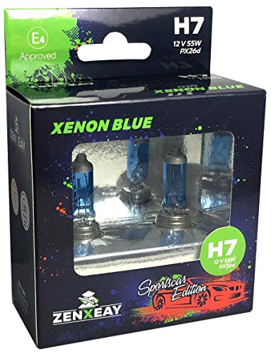 ZENXEAY H7 XENON BLUE Sportscar Edition, Halogen Leuchtmittel, 12V 55W, Xenon Optik, Super White Birne, 2 Stück Super Optik