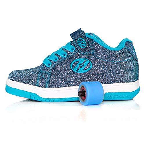 Heelys Split Unisex Kinder | Jungen und Mädchen Skateschuhe (Pewter Blau) (34 EU, Pewter Blau) Glitter Roller Schuh