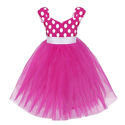 iEFiEL Babybekleidung - Baby Mädchen Kostüm Kleid Polka Dots Festlich Kleid für Geburtstag Party Fasching Kanerval (92-98, (Rosa Mädchen Satin Kostüme)