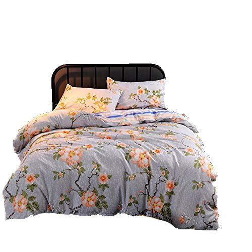KFZ Bett Set (Zwei Full Queen King Size) [4: Bettbezug, Bettlaken, 2Kissenbezüge] keine Tröster DL Blume grau blau Camel Print Design für Kinder, Erwachsene, Microfaser, Image Flower, Grey, Twin 59