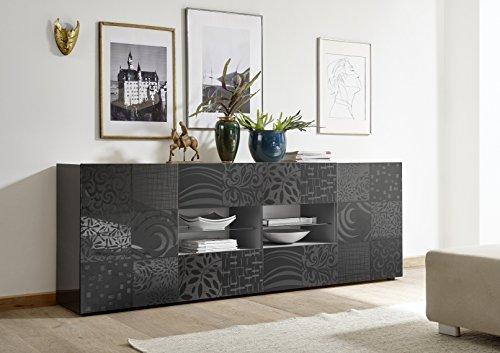 Mobile contenitore 2 ante 4 cassetti moderno grigio lucido ante con serigrafia soggiorno madia buffet con sportelli design mira 08
