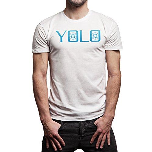 YOLO Snow Flakes In O Blue Background Herren T-Shirt Weiß