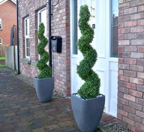 Künstliche Buchsbaum-Formschnitt Bäumchen, spiralenförmig, 120 cm, 2 Stück