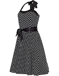 Laeticia Dreams Damen Kleid Rockabilly 50er Jahre Knielang Neckholder S M L XL