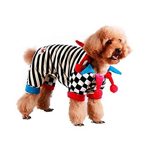 Coppthinktu Clown-Kostüm für Hunde und Welpen, Zirkus-Kostüm, mit Hut, Small, Mehrfarbig
