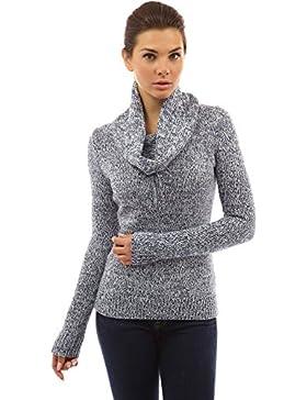 PattyBoutik Mujer suéter de cuello con cordón carenado marled