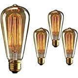 Homesake B008 Edison Tungsten Squirrel Cage Filament Vintage Base E27 Bulb (Pack of 4, Yellow)