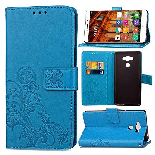 Guran® PU Ledertasche Case für Elephone P9000 Smartphone Flip Cover Brieftasche & Stent Funktionen Hülle Glücksklee Muster Design Schutzhülle - Blau