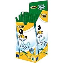 BIC Cristal Soft non-Retractable Ballpoint Pens (Green Box of 50)