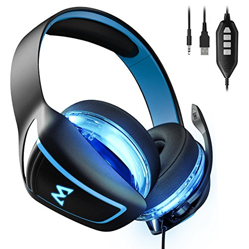 Mpow 7.1 Surround Sound Gaming Headset EG1 0ver Ear Headset mit 60mm Treiber Professionell Gaming Kopfhörer mit Mikrofon für PS4 / Xbox One/PSP/Netendo DS/PC/Tablette