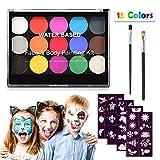 Keten Kinderschminke Set, Ungiftig Professionell Gesichtsbemalung 15 Farben Set mit 2 Pinseln und 40 Schablonen, Body Make-up Hypoallergene wasseraktivierte Farben für Party Cosplay Kostüme