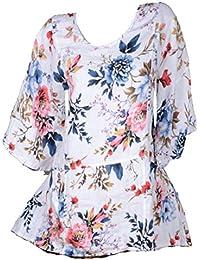 bc91d6d7bdc2c5 Damen Sommer Leinen Tunika Bluse Shirt 44 46 48 50 52 L XL XXL 3XL  Lagenlook Weiß Urlaub Strand Blumen Print…