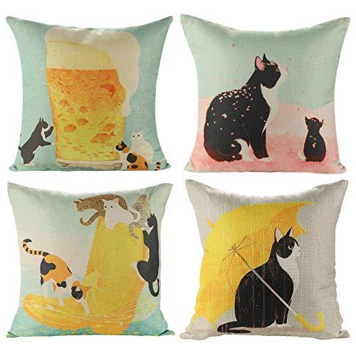 JOTOM Baumwolle Leinen Kissenbezug Kissenbezüge Startseite Dekorative Kissen Fall 45 x 45cm,4 er Set (Katze) - Körper Kissen Kissenbezug