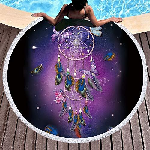 MENGMENGDA Tapicería Redonda Púrpura Europea Y Americana Microfibra Mariposa Sinfonía Atrapasueños Toalla De Playa Meditación Estera De Yoga Viaje por El Mar Mantel Mantel Redondo 150 Cm