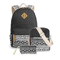 Koolertron Girls Women Canvas 3PC School Bags Set Laptop Backpack/Shoulder Bag/Pencil Case Casual Daypack School Backpack