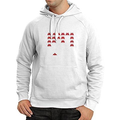 Sweatshirt à capuche manches longues T-shirts drôles de gamer de cadeaux de gamer de maniacs vintages de PC (XX-Large Blanc Rouge)