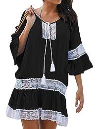 junkai Vestidos de Playa para Damas -Túnica Borla Encaje Vestido de Verano de Secado Rápido
