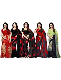 Ishin Combo of 5 Poly Georgette Multicolor Printed Women's Saree with Blouse Piece