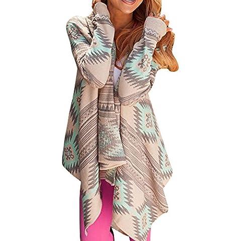 LaoZan Irregular Stripe Cardigan Jersey de Punto Estampado para las Mujeres Verde Medium