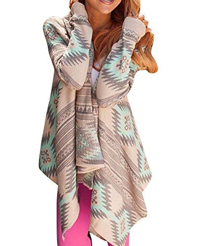 LaoZan Femmes Manteau GéOméTrique Imprimé Manches Longues En Coton Mixte Kimono Cardigan Tops Vert
