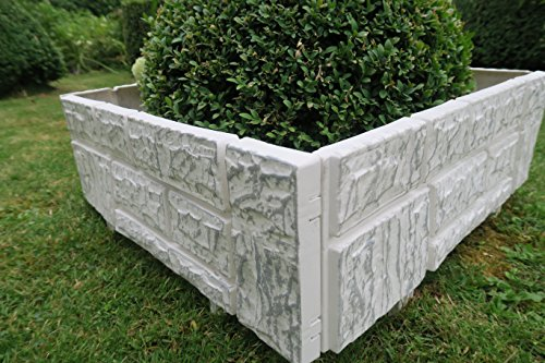 Einzigartiger Gartenzaun im Set zu 2,34 x 20 cm weiß/grau neues Modell Zaun als Steinimitat