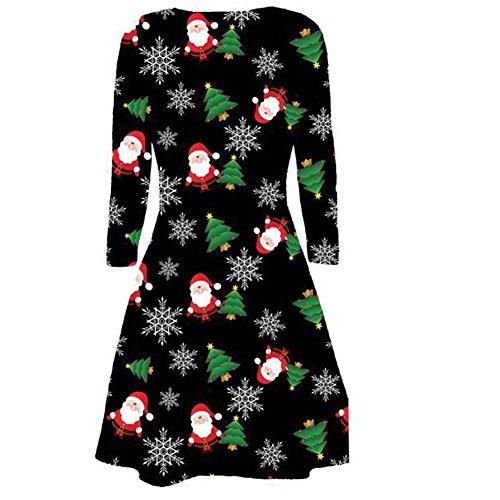 Generic Damen Skater Kleid Black Santa Tree