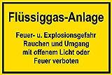 Schild für Gas- und Heizungsanlagen - Flüssiggas-Anlage - Kunststoff Selbstklebend - 20 x 30 cm
