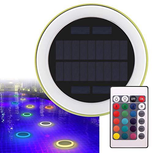 La lumière de piscine de LED, l'eau flottant rond à télécommande couleur changeante solaire actionné léger imperméable à l'eau intérieur intérieur de plage étang paysage nuit lumière décoration