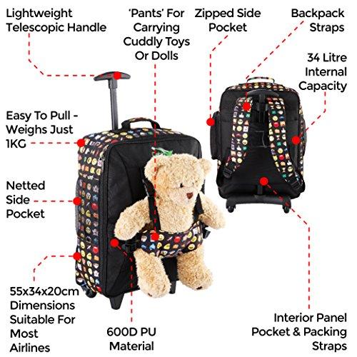 Kabine Max Handgepäck Kinder Fall Trolley Pink mit Rucksack Riemen - nehmen Sie Ihre Lieblingsbär / Puppe / Action Figur auf Urlaub Emoji
