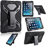 Multi Function Silicone Waterproof Shockproof Dustproof Rugged Apple iPad Air Case Cover with adjustable stand (New 2nd Gen Model) for Apple iPad Air/iPad 5 Color Black, [Importado de Reino Unido]
