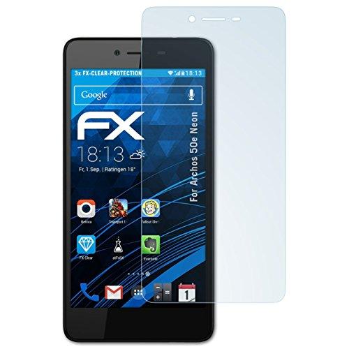 atFolix Schutzfolie kompatibel mit Archos 50e Neon Folie, ultraklare FX Bildschirmschutzfolie (3X)