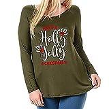 Fröhliche Weihnachten! SHOBDW Plus Größe Damen Langarm O Ausschnitt Wild Dünn Pullover Outwear Lose Bequemes Bluse Shirts Frauen Winter Mode Elegant Beief Drucken Sweatshirt T Shirt Tops