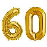 Simplydeko Folienballon Zahlen Set | Zahlenballons zum Geburtstag | Zahlen-Luftballons (Zahlenset 60 in Gold (41cm))