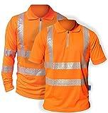 Hi-Vis Activewear Polo-Shirt mit Reißverschluss, atmungsaktiv und leichtes Workwear-Top. Klein bis 3XL (3 Extra Large, Short Sleeve)