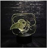 3D Bird Head Mouse Cute Led Night Light Rgb Carotaggio Animale Lampada Camera Da Letto Sleep Light 7 Color Change Boy Kid Regalo Di Natale