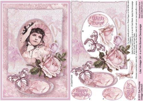 Lilla vintage Girl in a Pink Bonnet decoupage by Sue Douglas
