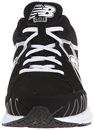 New Balance Mens T500 Turf Low Baseball Shoe,Black/White,7 4E US Black/White