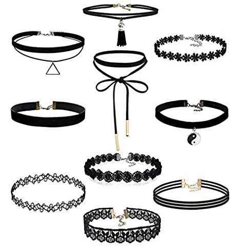 FEITONG 10 Pieces Choker Necklace Set Stretch Velvet Classic Gothic Tattoo Lace Choker (10 Pieces)