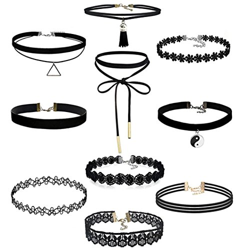 feitong-10-pieces-choker-necklace-set-stretch-velvet-classic-gothic-tattoo-lace-choker-10-pieces