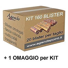 Blister contenitori per monete Euro 160 pezzi assortiti (20 pezzi per taglio) in plastica trasparente