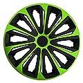RKK06 Multi-Color Line (Schwarz-Grün) Radkappen / Radzierblenden 4 Stück