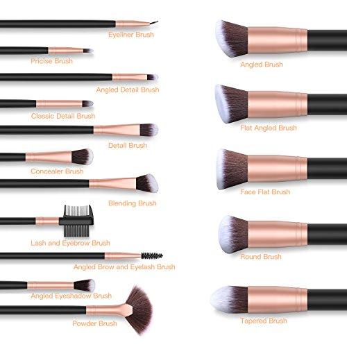 BESTOPE Makeup Brushes 16PCs Makeup Brush Set Premium Synthetic Foundation Brush Blending Face Powder Blush Concealers Eye Shadows Professional Make Up Brushes Kit (Rose Golden)