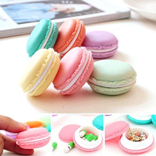 Ularma Kopfhörer Box 6 Mini Macarons-Tasche Ohrhörer Schmuck Medikamente Ring Ohrringe Aufbewahrungsbox 6 verschiedene Farben