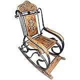 Tayyaba Enterprises Decorative Hand Crafted Rocking Chair with Wheel Design, Home Decor Rocking Chair, and Brown Pain Healer Rocking Chair.
