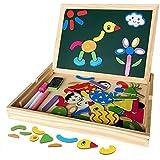 Magnetisches Holzpuzzles Puzzles Zeichnung Holzbrett Spielzeug Lernspielzeug Staffelei Doodle Lernspiel Spiel Pädagogische Lernspiel, Tolles Geschenk für Baby Kleinkinder ab 3 Jahre